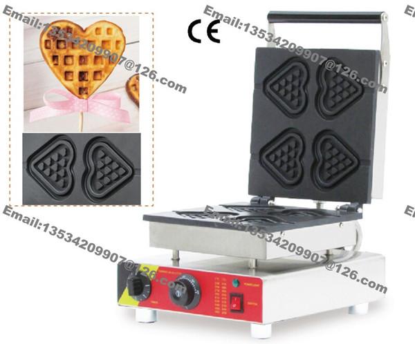 Trasporto libero antiaderente 110v 220v elettrico 4pcs cuore su un bastone Waffle Maker ferro Baker Machine Mold Plate