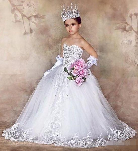 Bellissima Flower Girls 'Dress Per Matrimoni Perline Sweetheart Piano Lunghezza Pageant Dress For Girls 2019 Lace Applique Girls Party Dress