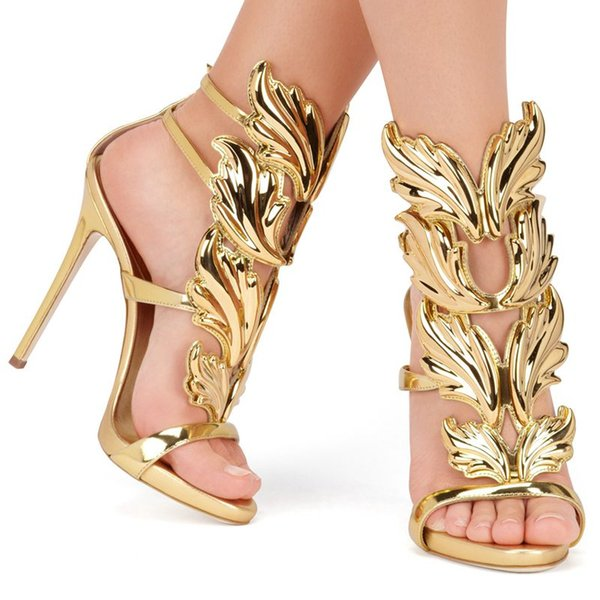 Hot Sale Golden Metal Wings Leaf Strappy Dress Sandal Silver Gold Red Gladiator High Heels Shoes Women Metallic Winged Sandals