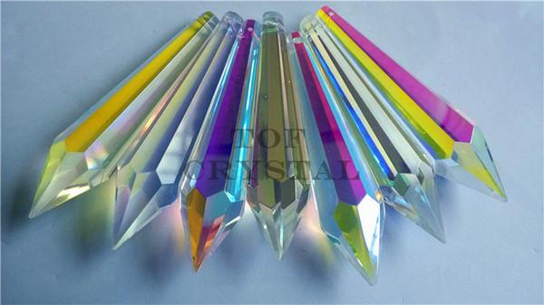 2016 neue produkt 15 Stücke hohe qualität AB Glas Kristall Eiszapfen Prisma U-drop Kronleuchter Teile 3 Zoll Kostenloser Versand