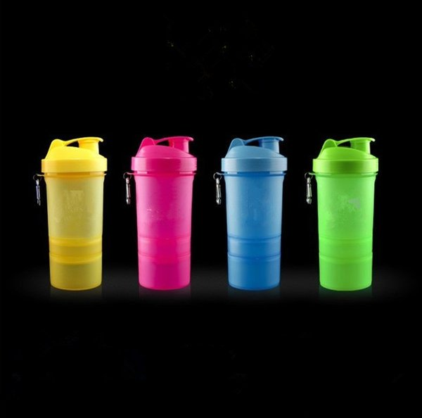 1Pc Protein shaker blender mixer cup sports fitness gym 3 layers multifunction 500ml BPA free plastic my water bottle