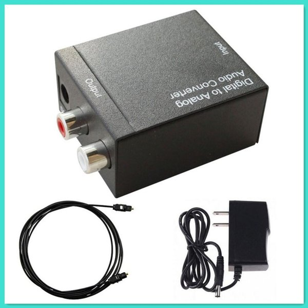Digital Optical Coaxial Toslink Signal to Analog Audio Converter Adapter EU Plug + Fibre Optic Cable HMP_444