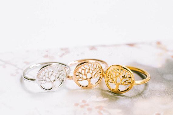 Золото / серебро / розовое золото покрытием дерево кольцо уникальный дизайн Дерево Жизни кольцо круглый дерево шаблон кольцо JZ101