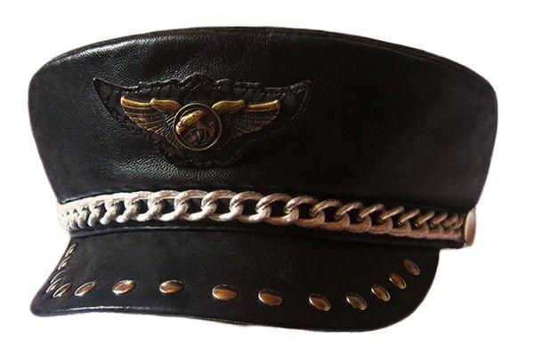 Punk Rock Show Rivet Navy Hat Motorcycle Club Eagle Badge Sheepskin Leather Hat Genuine Leather Hat Props