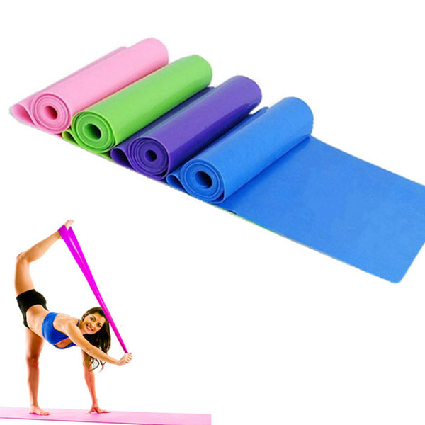 Al por mayor-1.5M Yoga Pilates banda de resistencia al estiramiento Ejercicio Fitness Band Training Elastic Exercise Fitness Rubber
