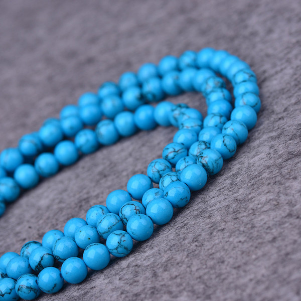 DIY semi-finished products 8mm Blue Turkey Turquoise Gem Round Loose Beads 15 inches