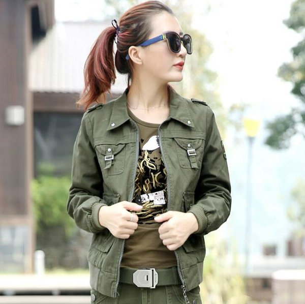 Army Green Cargo Jackets Fashion Eagle Embroidery Militare Armband Embellished Ladies Casual Jackets Free Shipping