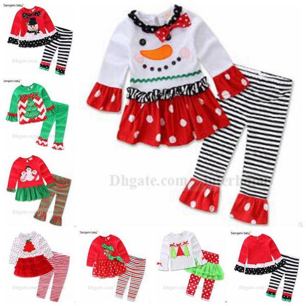 Kids Christmas Outfits Santa Snow Man Suits Christmas Tree T-Shirts Stripe Pants Santa Elk Tops+Tutu Leggings Dot Ruffle Dress Skirts B937