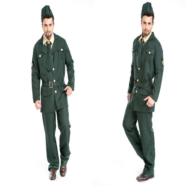 sexy army soldier costumes men halloween costumes military officer cosplay men party dress colonel uniform role