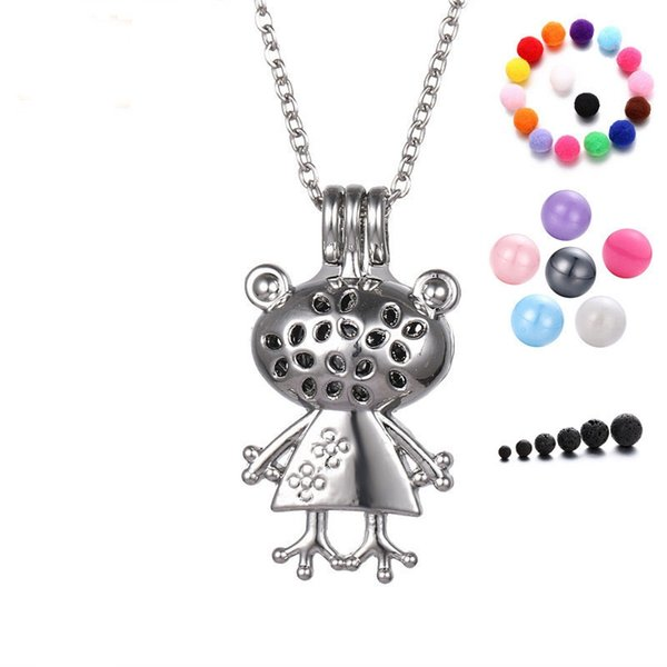 Pretty Frog Princess Locket Necklace Cute Aromatherapy Oil Essential Diffuser Pendant Necklace Fashion Jewelry Free Shipping
