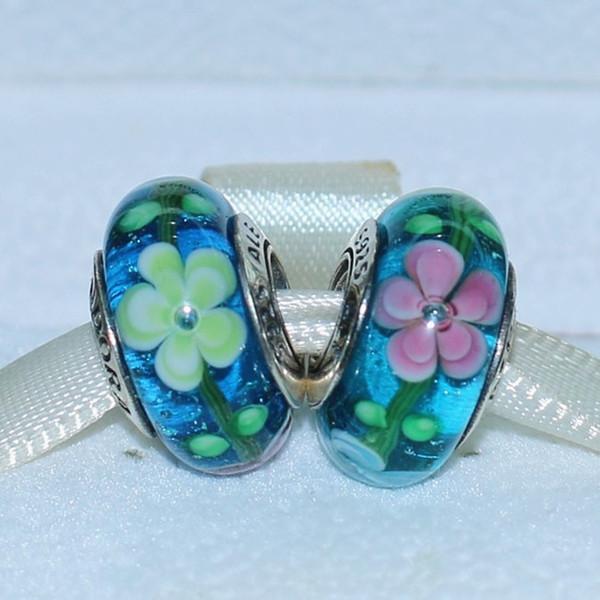 5pcs 925 Sterling Silver Screw Blue Flower Murano Glass Charm Lampwork Bead Fit European Jewelry Bracelet Necklaces & Pendants-001