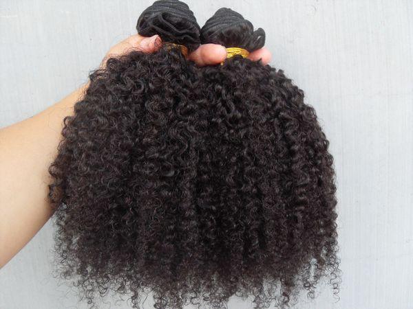 neu kommen brasilianische verworrenes lockiges Haar Schuss Haarverlängerungen unverarbeitete lockige natürliche schwarze Farbe menschlichen Erweiterungen können gefärbt werden