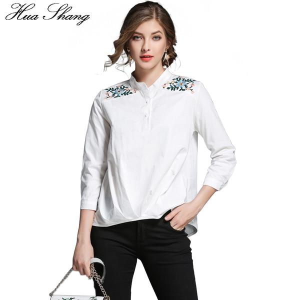 2017 Autumn Stand Collar Three Quarter Sleeve Embroidery White Shirt Women Work Office White Blouse Vintage Fold Irregular Tops