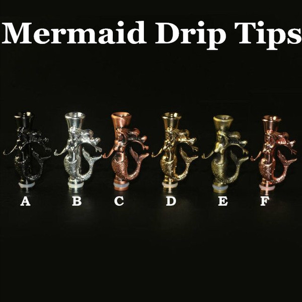 Newest Metal mermaid Drip Tip wide bore Mouthpiece 510 EGO Wide Bore Drip Tip for CE4 Evod DCT E vaporizer atomizer mechanical mod atomizer