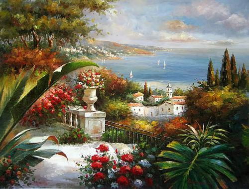 Emoldurado bela paisagem do mar Mediterrâneo com flores, frete grátis, pintura a óleo pura arte pintada à mão sobre tela, vários tamanhos disponíveis