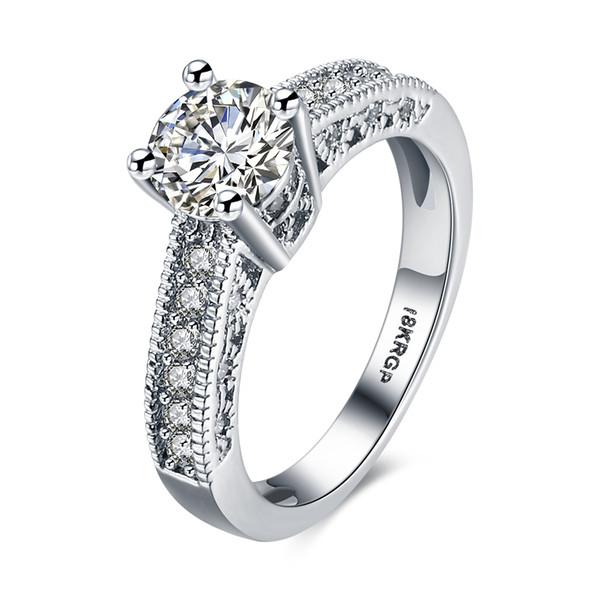 Di alta qualità 18 k oro bianco placcato 4a zircone anello di fidanzamento monili di modo delle donne taglia 6-9 # prezzo basso all'ingrosso anello di cerimonia nuziale spedizione gratuita