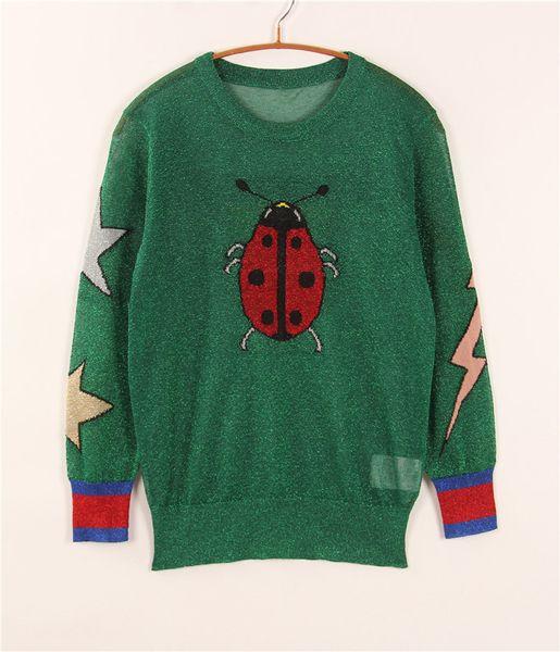Großhandel Grüne Frauen Pullover Marienkäfer Schmetterling Stickerei Star 2016 Herbst Hohe Qualität Long Sleeves Frauen Pullover 101207 Von