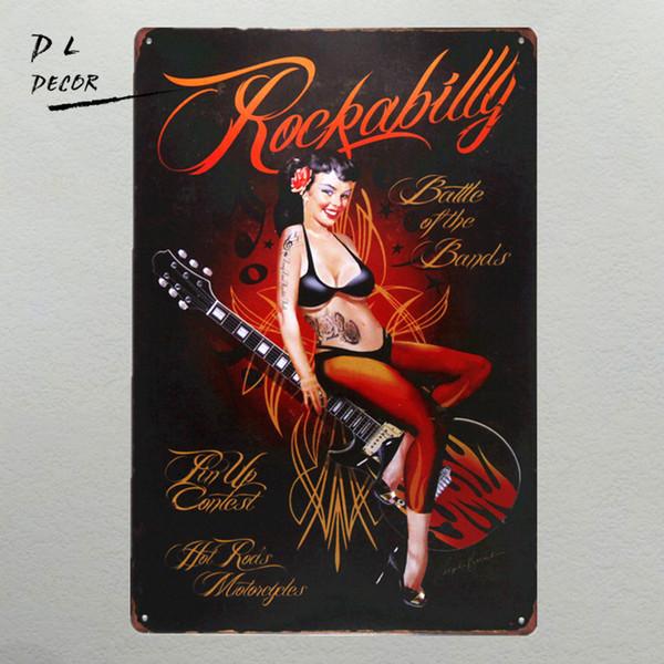 DL-Rockabilly Metal Sign vintage Home Decor garage wall art pin up poster coffee bar sign wall sticker