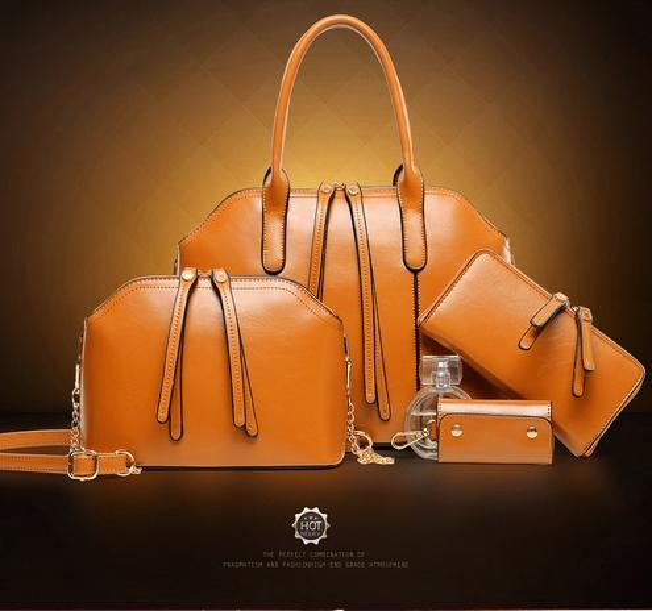 New Designer Women 4PCS Set Fashion Bags Ladies Handbag Sets Leather Shoulder Office Tote Bag Cheap Womens Shell Handbags Sale Hand bag