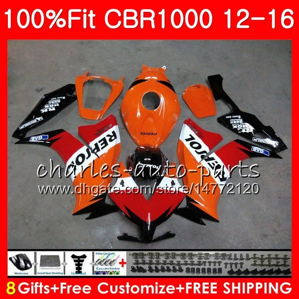 Injection Body For HONDA CBR 1000 RR CBR1000RR 12 13 14 15 16 Repsol orange 8NO20 CBR 1000RR CBR1000 RR 2012 2013 2014 2015 2016 Fairing kit