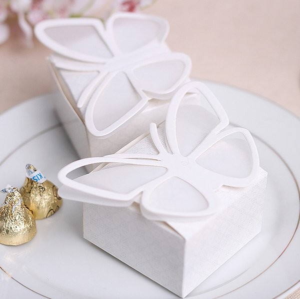 100pcs White Butterfly Candy Boxes Wedding Faovrs Christmas Anniversary Party Gift Paper Box Free Shipping New