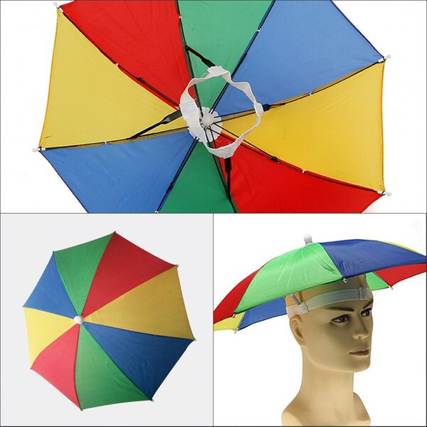 Factory Sale-4 Colors Rainbow Umbrella Hat Cap Sun Shade Camping Fishing Hiking Festivals Outdoor Brolly 50pcs