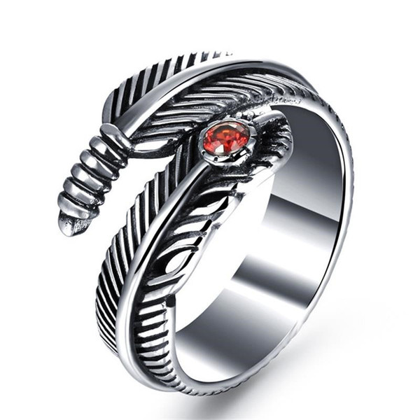 Man Party Ring Punk Style Stainless Steel + Red Cubic Zirconia Men Jewelry Gift Personality Feather Design Classical Style Punk Man Ring