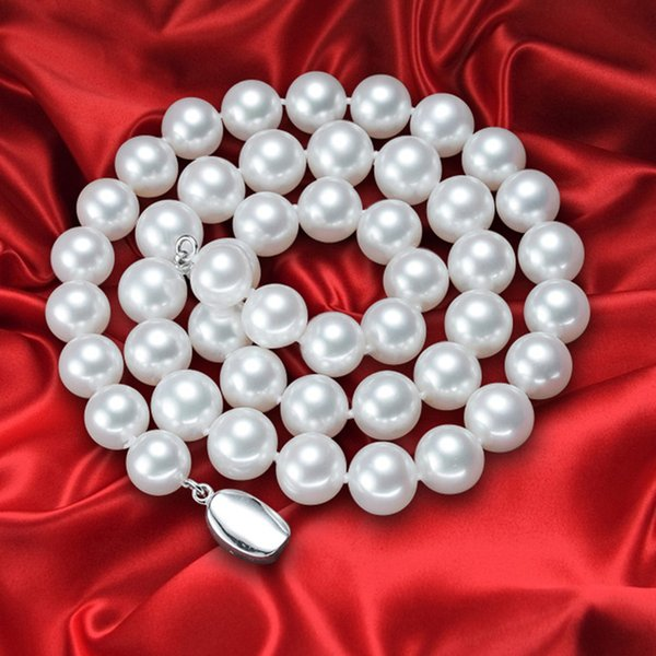 Free Shipping 8-9mm natural authentic white water pearl necklace 18-inch sterling silver