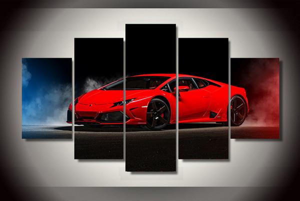 5 Pcs HD Imprimé Rouge voiture de sport Peinture Toile Imprimer décor de la salle affiche affiche image cadre de toile image vide