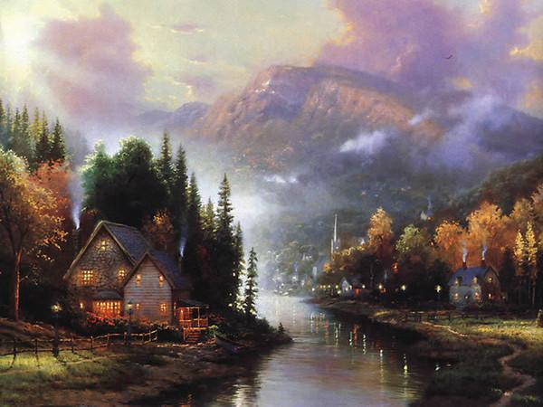 Light House, pittura ad olio di arte di paesaggio di alta qualità per la decorazione della parete di casa Stampa HD su tela in formato personalizzato