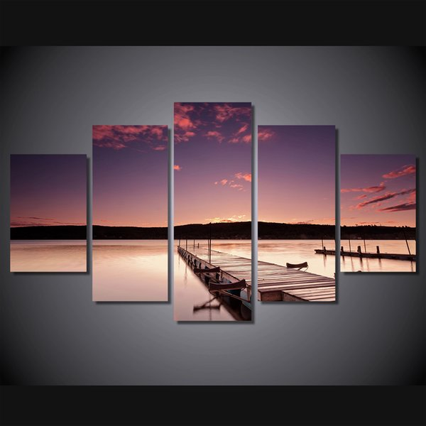 5 Panel HD Printed The setting sun wallhaven Painting Canvas Print room decor print poster picture canvas large canvas art cheap