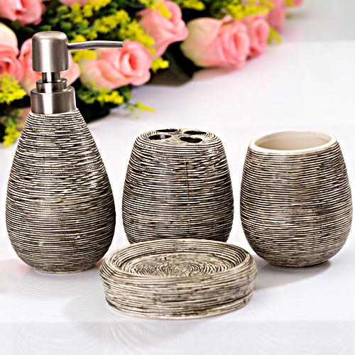 Brief Ocean Style Washing Room Sets Ceramic Bathroom Accessories 4 Sets Toothpaste Toothbrush Holder Soap Emulsion Bottle