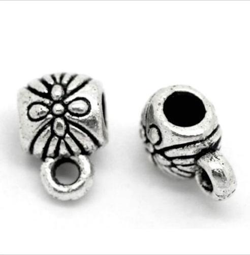 300pcs tibétain argent charmes cosses connecteur connecteur espaceurs perles pour la fabrication de bijoux bracelet 9x6mm