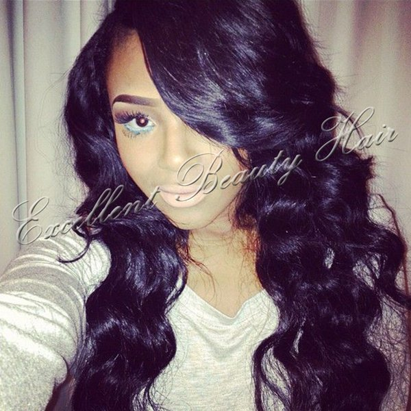 Human brazilian hair glueless full lace wig &lace front human hair wigs with bangs right side part body wave lace wigs free shipping