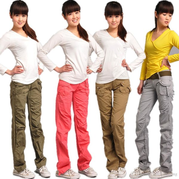 Free Shipping Spring summer cotton female sweatpants casual army cargo pants plus size outsize women's palazzo board coveralls