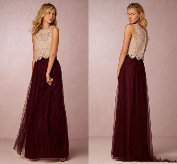 Elegant Burgundy Tulle Two Pieces Bridesmaid Dresses 2016 Lace Top A Line Formal Evening Event Wears Maid Of Honor Wedding Party Guest Gown