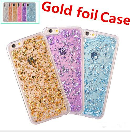 Christmas gift Gold foil Glitter Bling Platinum cell phone Case Goldleaf Silver Clear Soft TPU Back Cover for iphone X 8 7 6 6S 5 plus cases