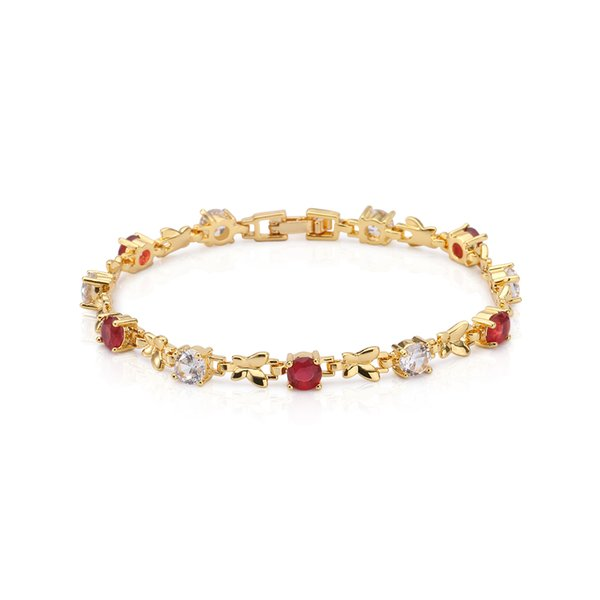 Kingly Womens 18k Yellow Gold Plated Ruby and Clear Cubic Zirconia Crescent Moon Shape Tennis Bracelet Free Shipping