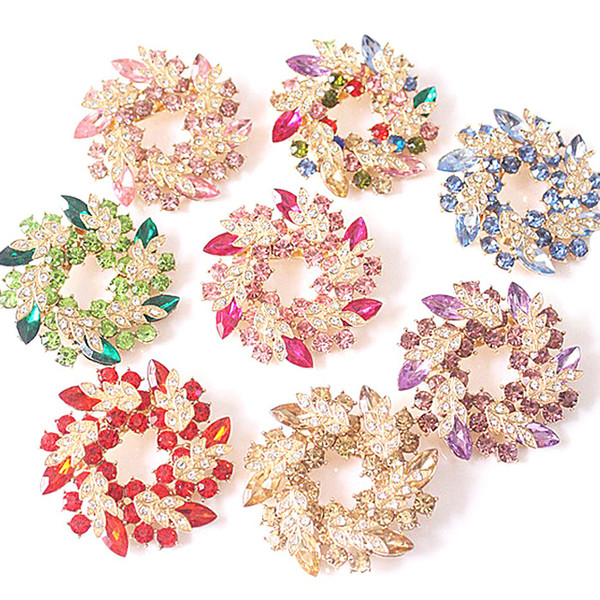 Bling Bling Crystal Rhinestone Gold Plated Chinese Redbud Flower Brooch Pins Jewelry Women Brooches for Scarf DHL free shipping