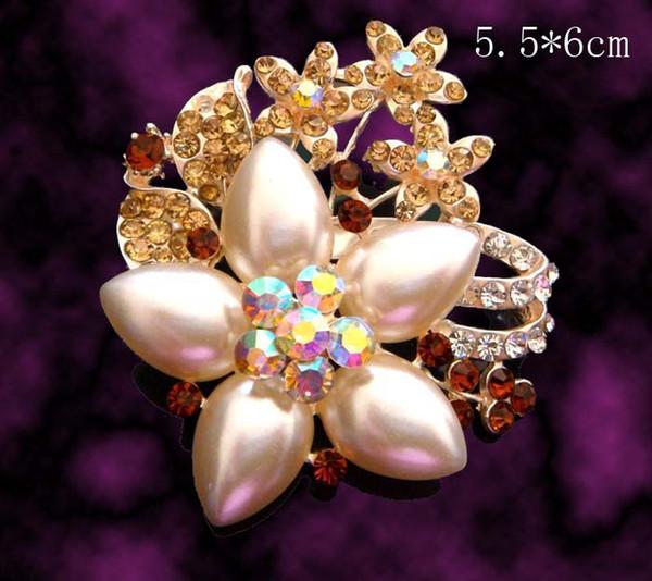 hot sale wedding plating silver fashion zinc alloy rhinestone flower Brooch bride jewelry Free shipping 12pcs lot mixed color BH703