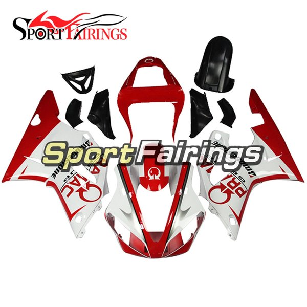 Complete Injection White Red Decals New Fairings For Yamaha YZF1000 R1 00 01 2000 2001 Injection ABS Fairings Motorcycle Bodywork Cowling
