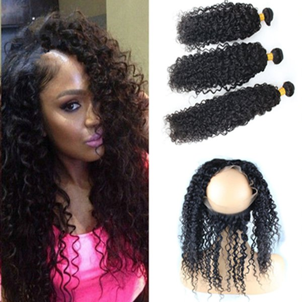 Ear To Ear 360 Lace Frontal Closure With Bundles 4Pcs Lot Unprocessed Deep Curly Human Hair Weaves With Full Frontal Lace Band Closure
