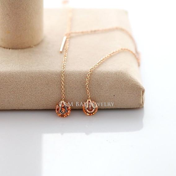 Beauty Long Drop Earrings Rose Gold Plated Platinum Plated Links Big Delicate Clear Austria Crystals Drops FJ0077