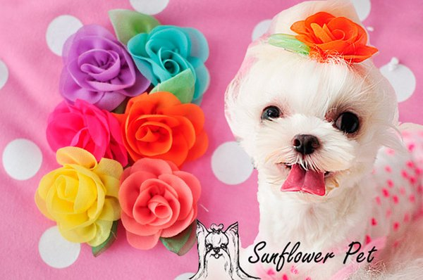 Pet Accessories Handmade Designer Dog Grooming Hair Bows Doggie Pet Gifts chiffon stereo rose flowers clip 50pcs/lot