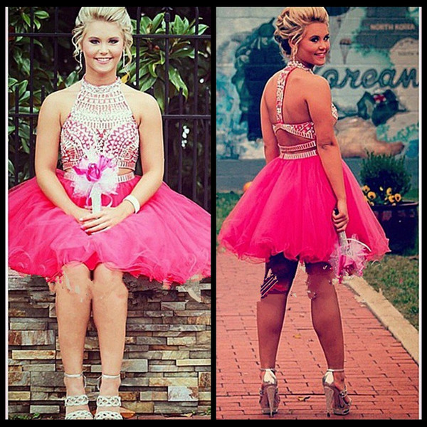 Mini Two Pieces Short Homecoming Dresses 2016 Sleeveless High Neck Criss Cross Tulle with Crystal Short Ball Gown Party Dresses Formal Gown