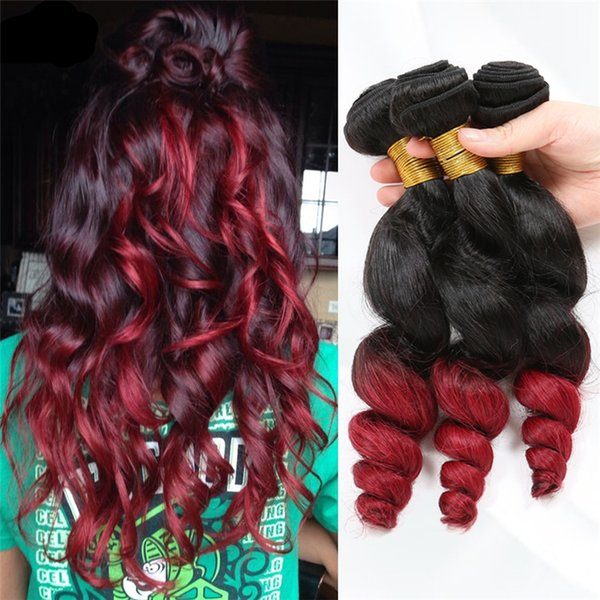 Hot Sale Loose Wave Ombre 2 Tone Hair Bundles #1B Red Ombre Hair Extension 3Pcs/Lot Double Wefted Hair Bundles For Black Woman