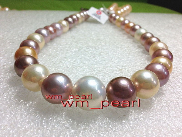 """Fine Pearl Jewelry AAA++ 18""""13-15mm REAL south sea Multicolor perfect round pearl necklace 14K gold"""