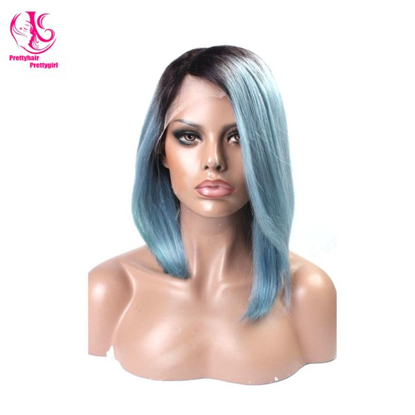 Nature look High quality light blue/black ombre bob wig wirth dark roots silk straight glueless synthetic lace front wig heat resistant