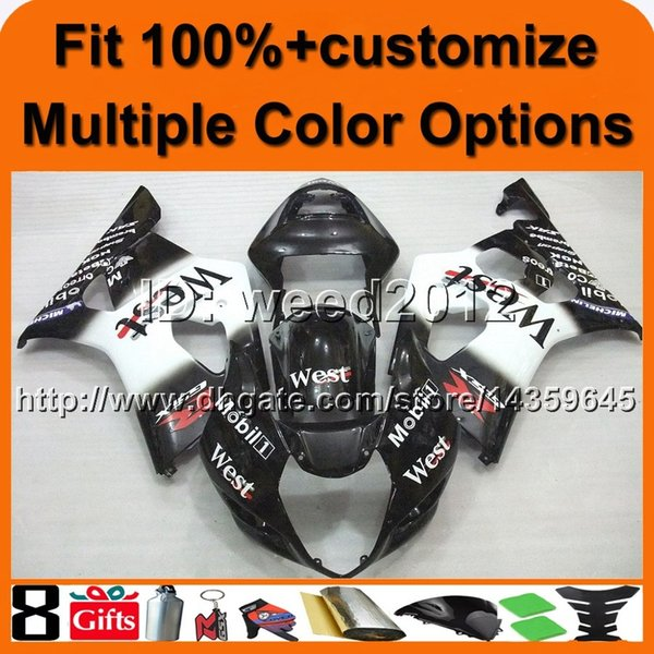 23colors+8Gifts Injection mold WEST BLACK GSX-R1000 03-04 motorcycle cowl for Suzuki K3 GSXR1000 2003 2004 ABS Plastic Fairing