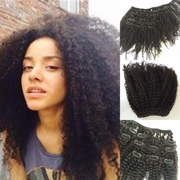 Extensiones de cabello con clip afro rizado rizado 100% cabello humano remy Productos brasileños de alta calidad para el cabello con pinzas en 120g Color natural de 8 '' - 24 ''